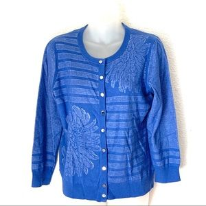Banana Republic Stripe Floral Blue Cardigan Large